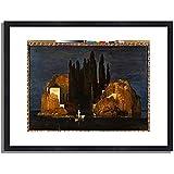 アルノルト・ベックリン 「The Isle of the Dead (First Version). 1880 」 インテリア アート 絵画 プリント 額装作品 フレーム:木製(黒) サイズ:XL (563mm X 745mm)