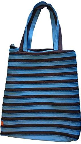 ZIP IT Go Big Handtasche Schultertasche Tragetasche Tasche blau/braun 34x47 cm