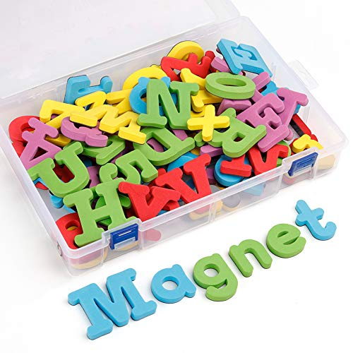 - Coogam Jumbo Magnetic Letters and Numbers 82 Pcs - Colorful Foam Uppercase Lowercase Alphabet ABC 123 Math Symbols Magnets for Fridge Refrigerator - Kids Preschool Learning Toy Set