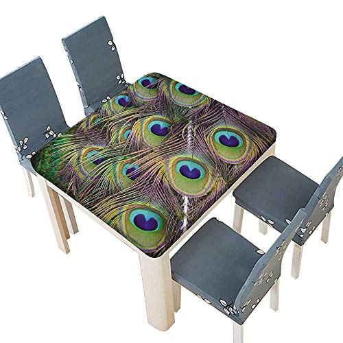 Polyester Magnificent Peacock Feathers Linen Cotton Tablecloths Kitchen Room 72.5 x 72.5 INCH (Elastic Edge)