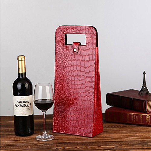 LANGUGU Faux Leather Wine Beer Bottle Protector Wine Tote Carrier Bag Reusable Gift Bag Single Wine Champagne Bottle Carrier Case Portable Travel Accessory (Red 1)