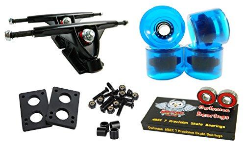 Longboard 180mm Trucks Combo w/70mm Wheels + Owlsome ABEC 7 Bearings (Gel Blue)