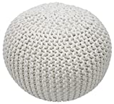 nuLOOM Knitted Round Pouf, White, 14'' H x 20'' W x 20'' D