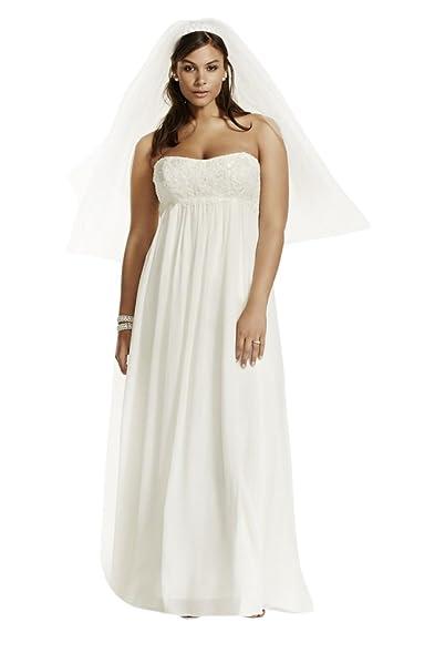 David\'s Bridal Crinkle Chiffon Plus Size Wedding Dress with Lace ...