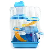 Mrlipet Small Pet Clear Plastic Dwarf Hamster, Mice Cage with Color Accessories, 3 Storey Blue
