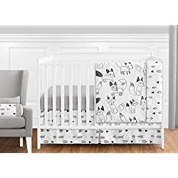 Grey, Black and White Fox and Arrow Unisex Boys/ Girls 11 Piece Crib Bedding Set Woodlands