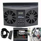 Boddenly Solar Powered Car Auto Cooling Fan ,Car Window Air Vent Ventilator Mini Air Conditioner Cool Fan (Black)