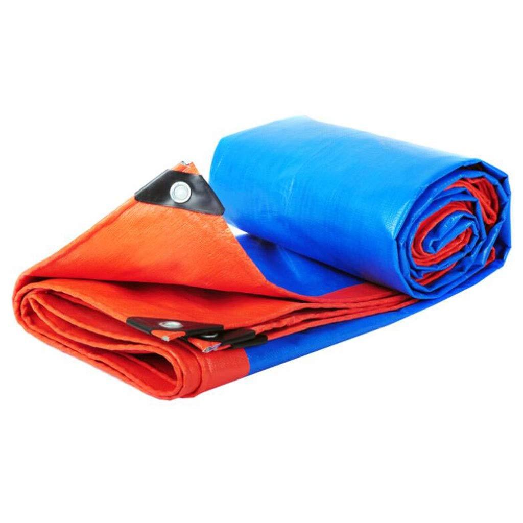 Teloni Foglio, Panno Antipioggia, Poliestere 100% Doppio Impermeabile Heavy Duty, Tarpaulin per Esterni - Blu Arancio (Dimensioni   4.8m5.8m)