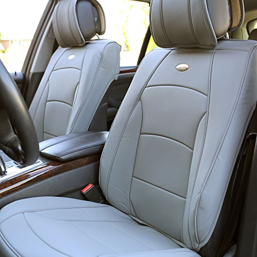 (FH Group PU205102 Ultra Comfort Leatherette Front Seat Cushions, Solid Gray Color- Fit Most Car, Truck, SUV, or Van)