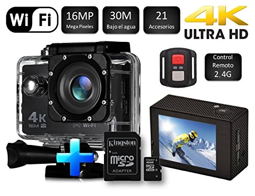 Cámara SJ Pro 4K WiFi + Micro SD 16GB · Deportiva Y Acuática 60FPS HD 16MP · Pantalla LCD HD 2'