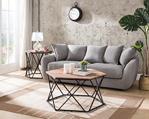 Best living room table: MOOSENG 1305 Reclaimed Oak Metal Frame Hexagon Coffee Table