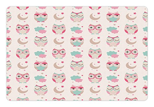 Owls Pet Mats for Food and Water by Ambesonne, Owls Stars Moon Patterns in Feminine Soft Colors Symmetric Design Artwork, Rectangle Non-Slip Rubber Mat for Dogs and Cats, Almond Green - Owl Of Feminine