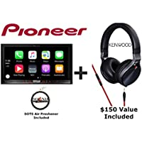 Pioneer AVIC-8200NEX 7 DVD Navigation Receiver with Built in Bluetooth, Apple CarPlay, Android Auto with a Kenwood KH-KR900 Over the Ear Headphones and a FREE SOTS Air Freshner