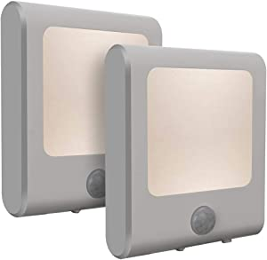 [2Pack] Vintar Motion Sensor Dimmable LED Night Light, Plug-in Nightlight with Auto Dusk to Dawn Sensor, Adjustable Brightness Warm White Lights for Hallway, Kids Room, Kitchen, Stairway, Bathroom