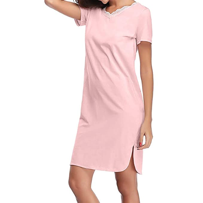 LILICATD ❋ Pijama Largo de Manga Larga con Encaje de Color Liso, Algodón Suave de
