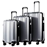 Coolife Luggage Expandable Suitcase 3 Piece Set with TSA Lock Spinner 20in24in28in (sliver3)