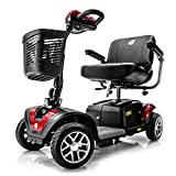 BUZZAROUND EX Extreme 4-Wheel Heavy Duty Long Range Travel Scooter w/ 3 Year In Home Service Plan, Red, 18-Inch Seat