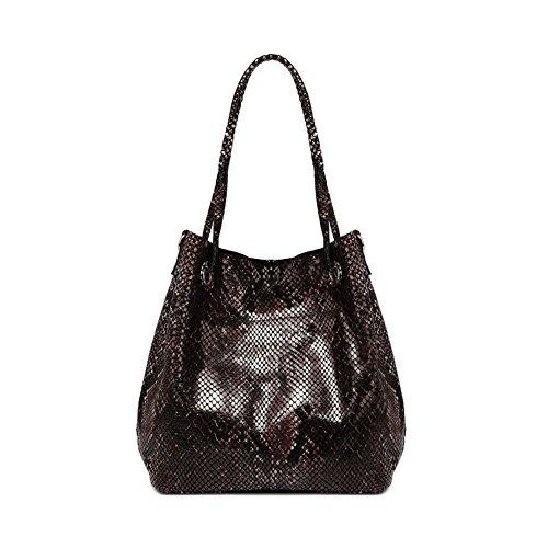 ZENTEII Women Genuine Cowskin Leather Snakeskin Pattern Handbag Hobo Tote Shoulder Bag (black) (Snake Skin Pattern)