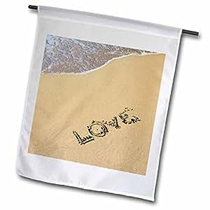 3dRose fl _ 47751_ 1amor en la sandbeacheslovable fotografía bandera de Jardín, 12por 18pulgadas