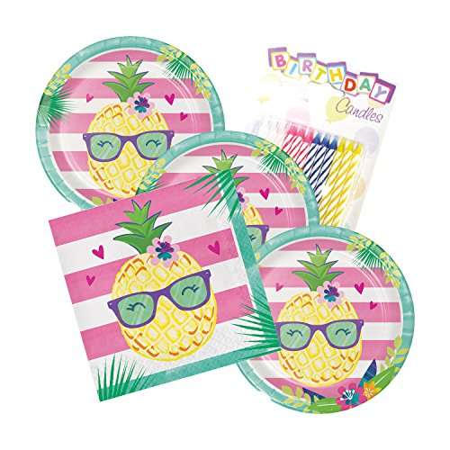 JJ Party Supplies Pineapple N Friends Party Theme Plates and Napkins Serves 16 With Birthday Candles