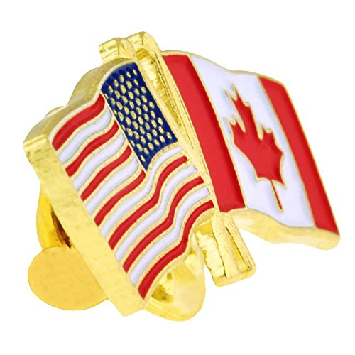 PinMart's USA and Canada Crossed Friendship Flag Enamel Lapel Pin by PinMart (Image #1)