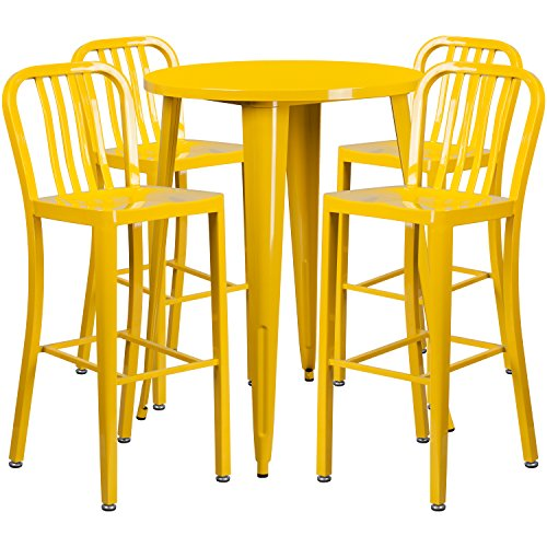 30'' Round Yellow Metal Indoor-Outdoor Bar Table Set with 4 Vertical Slat Back Stools