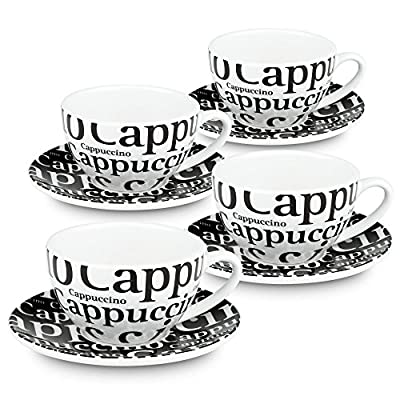 Konitz Coffee Bar # 4, Writing on Black Cappuccino Cups/Saucers/Gift Boxed (Set of 4), White