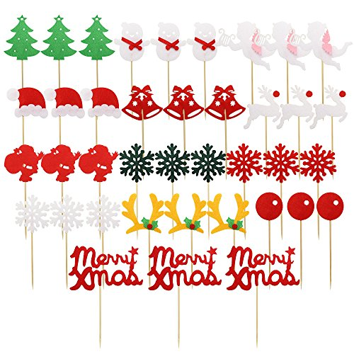 Dreamtop 39X Christmas Cupcake Toppers Picks Christmas Tree Santa Hat Snowflake Antler Food Cake Toppers Picks Christmas Themed Party Supplies (Santa Topper Tree Christmas Hat)