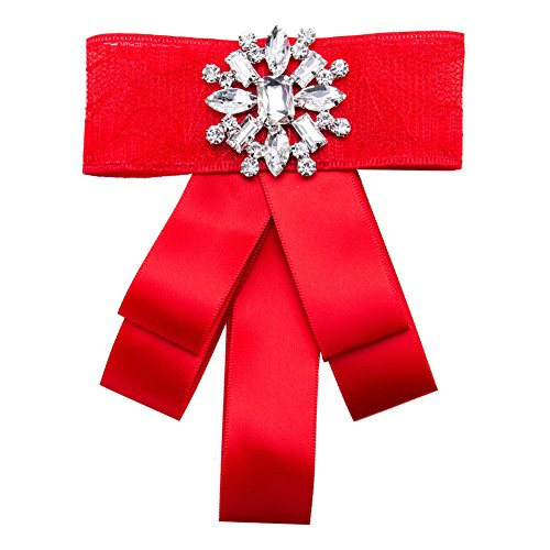 (Rhinestone Crystal ribbon brooches Bow Brooch pre-tied bow tie for women Wedding Party Bow Tie(Red))