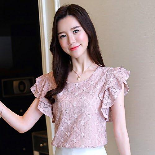 WXIN Camisa Mujer Blusa Encaje Femenino Que Basa La Camisa, S, Rosa: Amazon.es: Hogar