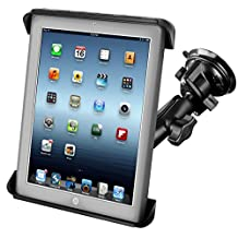 RAM Mounts (RAM-B-166-TAB3U) Twist Lock Suction Cup Mount with Tab-Tite Universal Clamping Cradle for the Apple Ipad 4, Ipad 3, Ipad 2 and Ipad 1 with Or without Light Duty Case
