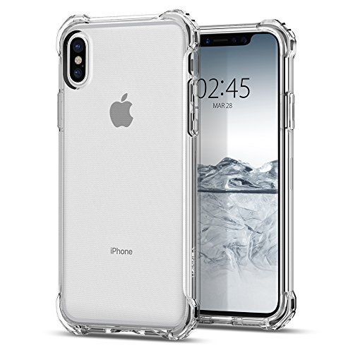 Spigen Rugged Crystal iPhone X Case with Clear back panel and Reinforced Corners on TPU bumper for Apple iPhone X (2017) - Crystal Clear