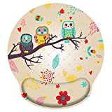 iColor Mouse Pad with Wrist Rest Nonslip Ergonomic Memory Foam Pain Relief Mousepad for Office Gaming Computer Laptop & Mac at Home/Work (Cute Owl)