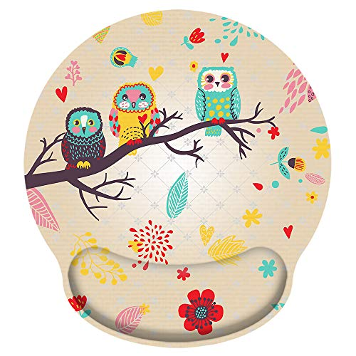 iColor Mouse Pad with Wrist Rest Nonslip Ergonomic Memory Foam Pain Relief Mousepad Desk Mat (9x10) for Office Gaming Computer Laptop at Home/Work (Cute Owl)