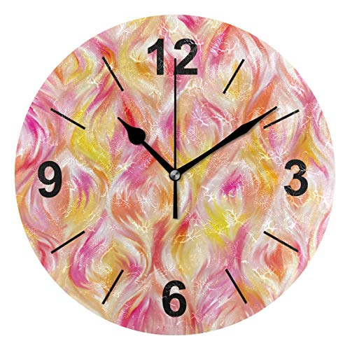 (Double Joy Wall Clock Round Flower Petal Pattern Color Pink Dessert 10 Inch Diameter Silent Decorative for Home Office Kitchen Bedroom)
