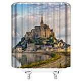 AMNYSF Mount-Saint-Michael Castle Decor Home Shower Curtain Famous French Monumental Catholic Pilgrimage Site,70x70 inches Waterproof Polyester Fabric Bathroom Accessories Curtains with 12pcs Hooks