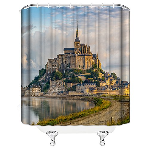 AMNYSF Mount-Saint-Michael Castle Decor Home Shower Curtain Famous French Monumental Catholic Pilgrimage Site,70x70 inches Waterproof Polyester Fabric Bathroom Accessories Curtains with 12pcs Hooks by AMNYSF