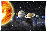 Soft Pillow Covers Decorative Case standard size 20x30 inches Solar System Throw Twin-sides Print