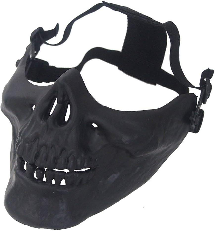 Wealthgirl Cráneo Esqueleto Máscara de Media Cara Equipo de protección Duro Airsoft Paintball Hunting CS Wargame Masquerade Costume Party Halloween (Black)