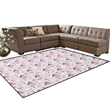 Swan,Floor Mat,Princess Dress Gown Magic Shoes Mirror and Cute Swans with Tiaras Pattern,Living Dining Room Bedroom Hallway Office Carpet,Lavander Blush White Size:5'x6'