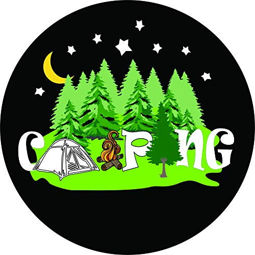 TIRE COVER CENTRAL Camping Tent Word Art Spare Tire Cover for 225/75R15 fits Camper, Jeep, RV, Scamp, Trailer(Drop Down Size - 225 Art