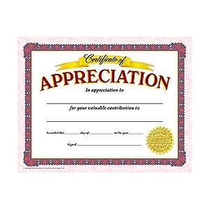 amazoncom trend enterprises certificate of appreciation