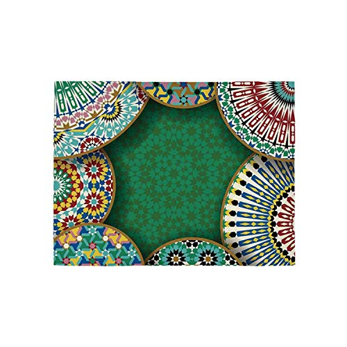 - Moroccan Utility Area Rug,Oriental Motif with Mix of Hippie Retro Circle Morocco Mosaic Lines Sacred Holy Design for Home,120
