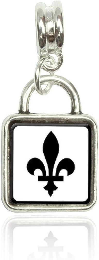 Made On Terra Fleurs de lis Euro European Italian Style Bracelet Bead Sqr Charm