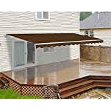 ALEKO AWM16X10BROWN36 Retractable Motorized Patio Awning 16 x 10 Feet Brown