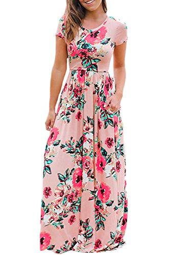 Long Crew Amstt Floral Neck Print Sleeve Pink Dress Short Maxi Casual Women's tq0qHTwx4