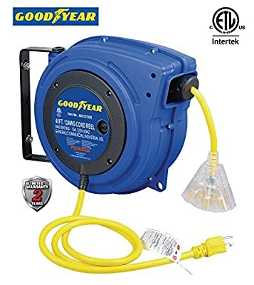 Goodyear Extension Cord Reel Heavy Duty, 40-50 ft. 12/14/16 AWG 3C SJTOW, Triple Tap with LED Lighted Connector