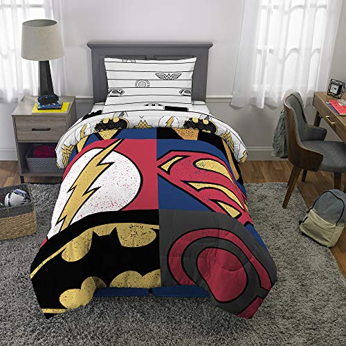 (Franco Kids Bedding Super Soft Comforter and Sheet Set, 4 Piece Twin Size, Justice League)