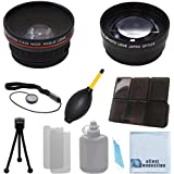 Vivitar 58mm 0.43x Wide Angle Lens + 2.2x Telephoto Lens with Deluxe Lens Accessories Kit for Canon T1i T2i T3 T3i T4i T5i T5 SL1 30D 40D 50D 60D 70D 5D 1D 5DII 5DIII DSLR