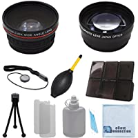 Vivitar 58mm 0.43x Wide Angle Lens + 2.2x Telephoto Lens with Deluxe Lens Accessories Kit for Canon / Nikon / Pentax Cameras & Camcorders and Other Brands.